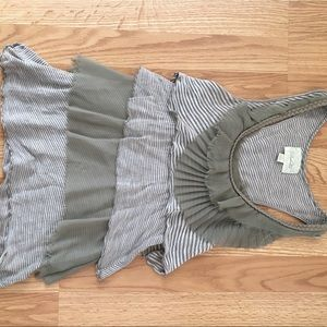 Asymmetrical, tiered, olive top